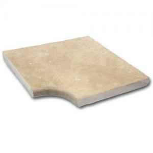 Photo Travertin angle margelle 43x43cm ou 50,6x50,6cm + 1/2 rond