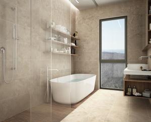 Photo Travertin clair et uni TOPLIGHT pour salle de bain sol et mur